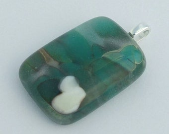 Fused Glass Pendant, Pebble Look, One of a Kind, Wearable Art, Handmade Jewelry
