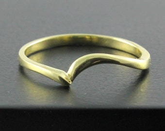 14K Yellow Gold Band - Swirl Design - Wedding Band - Simple Band - Stackable Ring - Custom Band