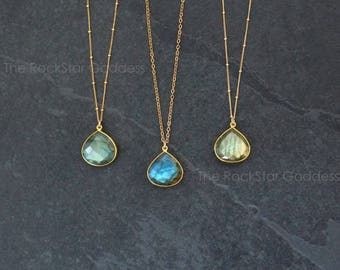Labradorite Necklace / Gold Labradorite Necklace / Labradorite Jewelry / Gift for Mom / Gemstone Necklace / Mother's Day Gift