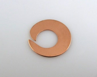 """Sale - COPPER OPEN WaSHER, 1"""", 25mm Stamping Blank Personalized Jewelry Round Scrapbooking Disc 24 Gauge Qty 6"""