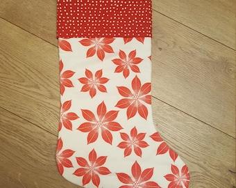 Red Poinsettia Stocking