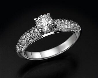 diamond engagement ring, 0.50 ct diamond, pave diamond ring, diamond gold ring, natural diamond, unique engagement ring, bridal jewelry