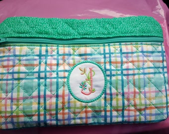 Zippered Cosmetic Bag with Monogram