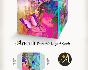 Printable digital moroccan boho style gift box layout do it printable digital enchanted butterflies gift box layout do it yourself wedding favor box collage sheet solutioingenieria Choice Image