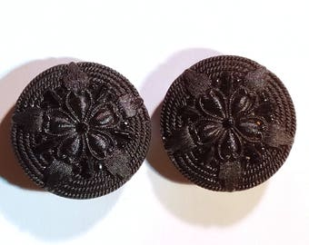 Victorian Black Glass Intricate Hat Pin Topper Stone Button