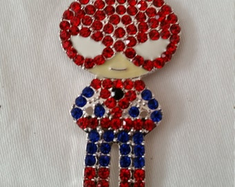 Spiderman Pendant, bling Pendant, chunky Bead Pendant, Rhinestone Pendant