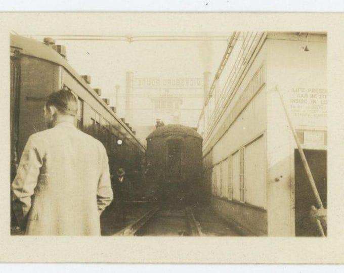 "Train Station ""Vicksburg Route"" Vintage Snapshot Photo (712628)"