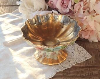 Vintage Hand Painted Pedestal Compote, Bon Bon Dish, Porcelain, Candy Dish, Cottage Style, Tea Parties