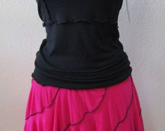 rosebloom color skirt or tube dress with ruffled edging plus made in USA (v150)