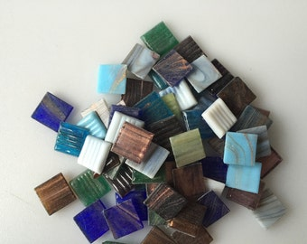 "35- 3/4"" Gold Streaky Glass Mix Venetian Glass Mosaic Tiles"