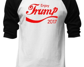Men's Enjoy Trump 2017 Baseball T-Shirt all size S-3XL Black/White  V200