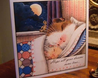 Guinea Pig art birthday card from original painting  exclusive by English artist Suzanne Le Good square format