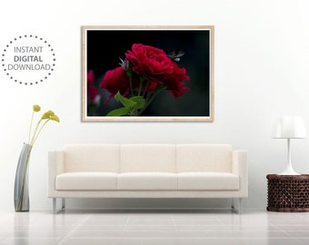 Red Roses, 11x17 Rose Ar Print, Instant Download, Rose Print For Wall, Rose Wall Art, Rose Printable