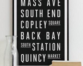 Boston Subway Sign - Typography Print - Modern Home Decor - Boston City Art Poster