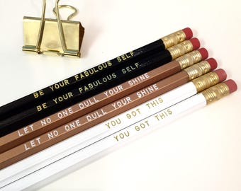 Set of 6 Engraved Pencils | Encouragement Gifts | Positive Message Gifts | Cute Pencils | Cute Office Supplies