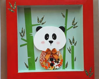 Frame for baby / child, panda and bamboo