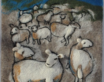 """Felted relief picture """"Sheep in the night"""" Wool Animal Handmade Home Decor Valentines  White Sheep Wall Hanging Fiber Art ready to ship"""