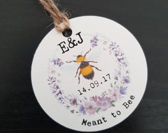 Meant to Bee Tags - Round Favour Tags - Honey Tags - Honey Jar Tags - Honey Labels - Honey Favour Tags - Wedding Favour Tags