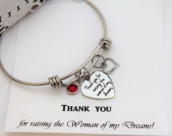 MOTHER of The BRIDE Gift Mother In Law Gift from Groom Thank you for Raising the Woman of my Dreams Bracelet Mother of Bride Gift From Groom