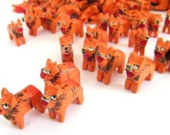 Wooden Lion Beads - Ten (10) Orange Lions