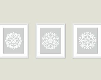 Mandala Art Prints - Medallion Wall Art - Set of 3 - Modern Home Decor - Neutral Colors - Set of 3