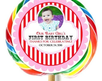 Carnival Birthday Party, Photo Lollipop Stickers, Circus Birthday Stickers, Extra Large Personalized Stickers, Fit on WHIRLY LOLLIPOPS