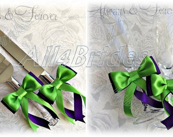 Purple and Green Wedding Cake Cutting Set and Champagne Toasting Glasses