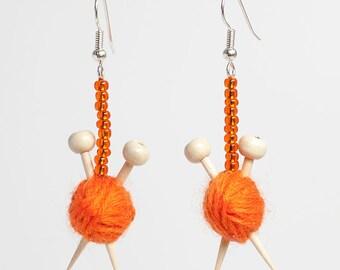 Orange Ear Knits - Yarn ball earrings