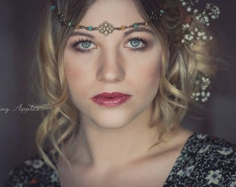Hair band, Tiara, Circlet-' Enja in the colors bronze, turquoise/Middle Ages, photo shooting, Celts, festival, bridal jewelry, Boho style