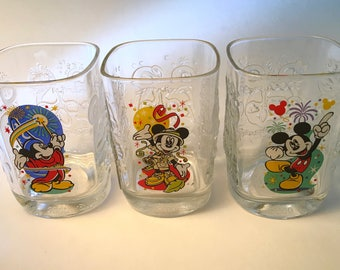 Set of three vintage McDonald's Disney Epcot, Animal Kingdom and Magic Kingdom heavy square glasses
