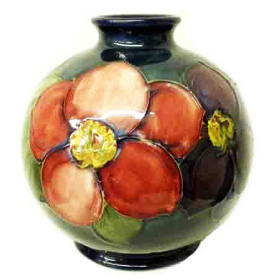 Moorcroft Pottery Brilliant Clematis Vase Designed By