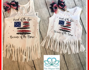 4th of July shirts, Land of the free because of the brave, Girls 4th of july shirt, womans 4th of July top