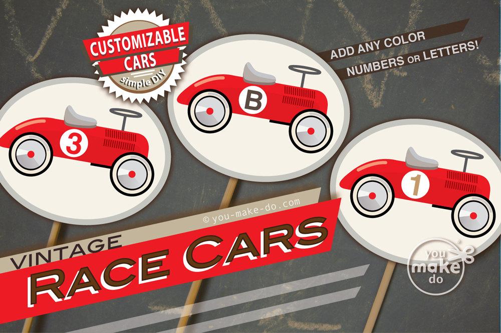 race car cupcake toppers race car tags race car birthday