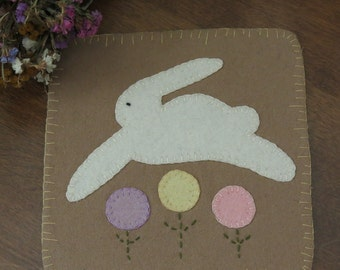 Bunny Hop Penny Rug - Easter Bunny Candle Mat