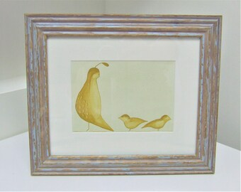 Original Watercolour Painting of Quails Framed