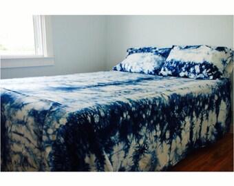 Hand Dyed Sheet Set Bohemian Bedding Blue Bedding Dorm Bedding Shibori Bedding Tie Dye Bedding Twin Full Queen King