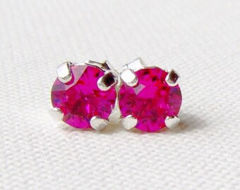 Fuchsia rhinestone stud earrings / surgical steel studs / Swarovski crystal / 6mm / hot pink earrings / gift for her / girlfriend gift