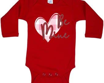 Be Mine Valentine Pink Plaid Heart Long Sleeve Baby bodysuit