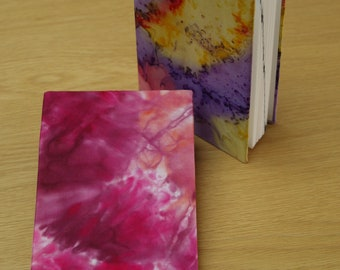 A6 Address Book Covered in Magenta and Purple Hand Painted Silk