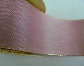 2 m dusty pink moire Ribbon without wire, 50 mm wide