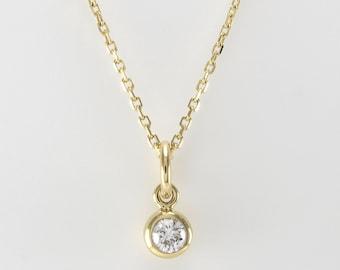 Diamond Bezel Set Necklace, 0.1ct Diamond Solitaire Necklace, 14K Solid Gold Simple Diamond Necklace, Dainty Diamond Necklace