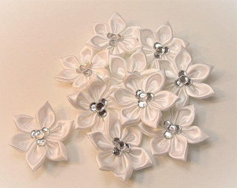 Custom  Hand Made Flowers-(Set of 10 satin flowers)