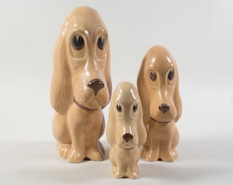 Sylvac Dogs, vintage figurines dogs by Sylvac England, Set of 3 dogs, Droopy dog, Sad eyed dog, Sylvac 2951, 2950, 2949