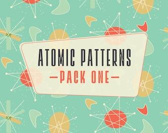INSTANT DOWNLOAD! Atomic Patterns Pack 1: 4 Digital Scrapbook Papers