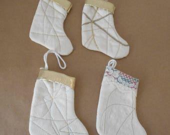 4 Small Christmas Stocking Ornaments