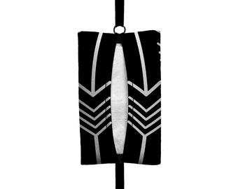 Auto Sneeze - Arrows - Visor Tissue Case/Cozy - Car Accessory Automobile Black White