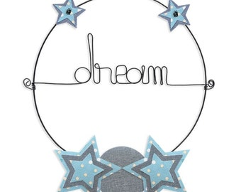 Wall hanging wire - colorful Message: Dream - Blue - Star