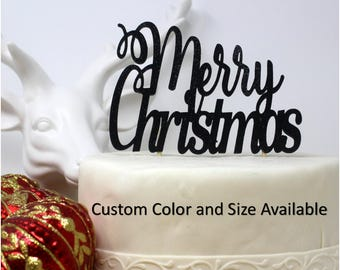 Merry Christmas Cake Topper, 1pc, Christmas, Glitter, Handcrafted Party Decor, Party Supplies
