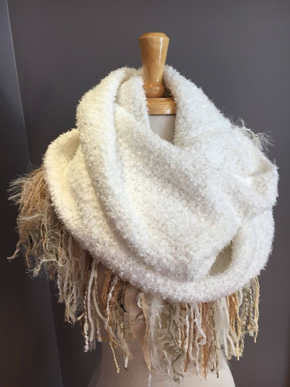 Woven Ivory wide infinity scarf with tan gold tone fringe, 'Showstopper', Ribbon Fringed Knit Round Scarf, Infinity, Poncho, ivory shru
