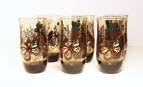 Tumblers, Drinking Glasses, Butterfly Pattern, Brown Glass,  Set of 6, 10-ounce glasses